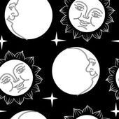 Seamless wallpaper the Moon and Sun with faces — Vettoriale Stock