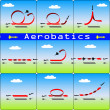 Stock Vector: Aerobatics airplane on blue sky background