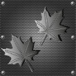 Metal shield maple leaf  background with rivets — Stock Vector