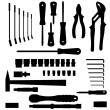 Vector set of different tools — Stock Vector