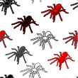 Stock Vector: Halloween seamless pattern with black spiders