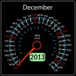 Stock Vector: 2013 year calendar speedometer car in vector. December.