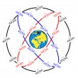 Vettoriale Stock : Space satellites in eccentric orbits around Earth.