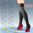 2013 Calendar female legs in stockings — Stock Vector