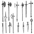 Weapon collection, medieval weapons — Stock Vector