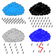 Stock Vector: Clouds with precipitation, vector illustration