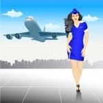 Beautiful Stewardess at the airport — Stock Vector