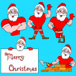 Stock Vector: A set of pictures muscular Santa Claus