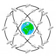ストックベクタ: Space satellites in eccentric orbits around Earth.