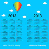Stylish French calendar with balloon and clouds for 2013. In Fre — Vettoriale Stock
