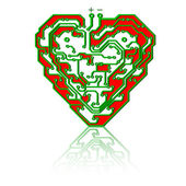 Circuit board pattern in the shape of the heart. — Stock Vector