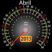 2013 year calendar speedometer car in Spanish. April — Stock Vector