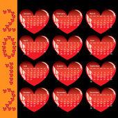 Calendário elegante com corações vermelhos para 2012. domingos primeiro — Vetorial Stock