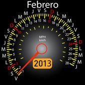2013 year calendar speedometer car in Spanish. February — Stock Vector