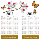 Stylish calendar with flowers and butterflies for 2012. Week sta — Vettoriale Stock