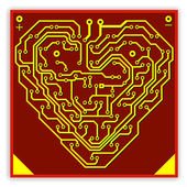 Circuit board pattern in the shape of the heart. Illustration. V — Stock Vector