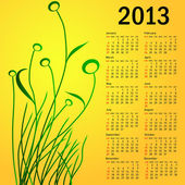 Stylish calendar with flowers for 2013. Week starts on Sunday. — Vettoriale Stock