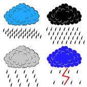 Clouds with precipitation, vector illustration — Vecteur
