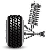 Front car suspension, frontal view. — Stock Vector