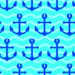Stock Vector: Seamless wallpaper with sea anchors