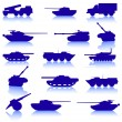 Collection set of tanks of guns — Stock Vector #34520553