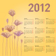 Stylish calendar with flowers for 2012. Week starts on Monday. — Stock Vector #34520919
