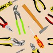 Stock Vector: Seamless background of hand tools for construction
