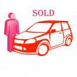 The car is sold — Stock Vector