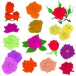 Set of  in hand drawn style roses. Vector EPS 10 illustration. — Stock Vector