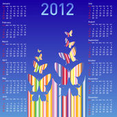 Stylish calendar with butterflies for 2012. Week starts on Sund — Stock Vector