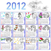 2012 year calendar in vector. Hand-drawn fashion model. — Vector de stock