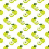 Naadloze patroon met appels op de groene achtergrond. — Stockvector