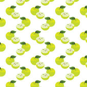 Seamless pattern with apples on the green background. — Cтоковый вектор