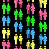 Wzór z sylwetki osoby różnych ko — Wektor stockowy
