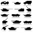 Collection set of tanks of guns — Stock Vector #34530185