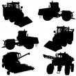 Agricultural vehicles silhouettes set.  — Stock Vector