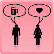 Vector Man & Woman icon over pink background — Stock Vector #34534559