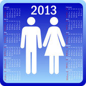Stylish calendar family for 2013. Week starts on Sunday. — Vettoriale Stock