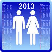 Stylish calendar family for 2013. Week starts on Sunday. — Stock Vector