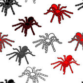 Halloween seamless pattern with black spiders — Stock Vector