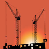 Silhouettes of crane on building against — Stock Vector