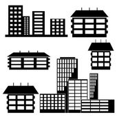 Different kind of houses and buildings - Vector Illustration — Stock Vector