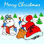 Santa claus i bałwan — Wektor stockowy