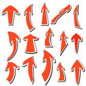 Oklar etiketleri farklı renkler ve şekiller. vektör. — Stok Vektör