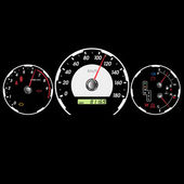 Car speedometer and dashboard at night. Vector illustration — ストックベクタ