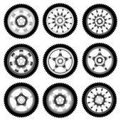 Automotive wheel with alloy wheels — Stock Vector