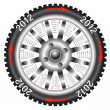 Stock Vector: Calendar 2012 year wheel car.