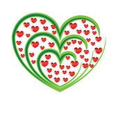 Manzano Vector con frutos rojos en forma de corazón — Vector de stock