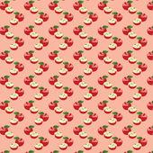 Seamless mönster med äpplen på grön bakgrund. — Stockvektor