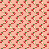 Seamless pattern with apples on the green background — Cтоковый вектор